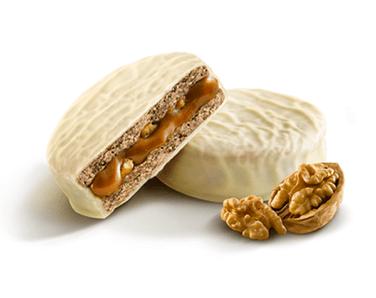 Alfajor de Nuez, Dulce de leche y Choco Blanco